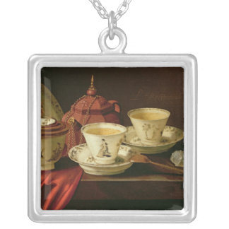 A Yixing Teapot and Chinese Porcelain Tete-a-Tete Silver Plated Necklace