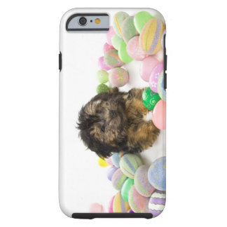 A Yorkie-poo puppy and Easter eggs. Tough iPhone 6 Case