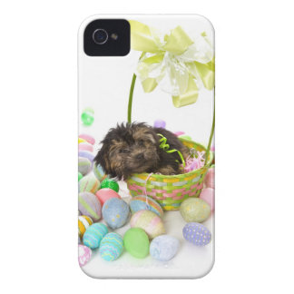 A Yorkie-poo puppy encountering an Easter basket iPhone 4 Case