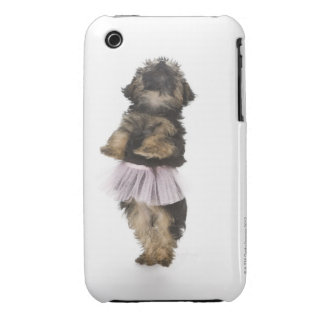 A Yorkie-poo puppy in a tutu on her hind legs. iPhone 3 Case