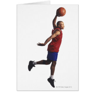 a young adult male basketball player flies greeting card