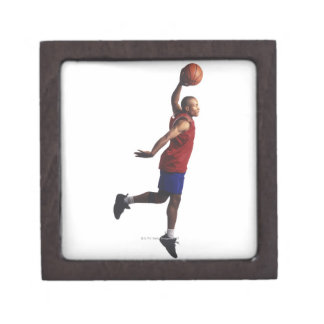 a young adult male basketball player flies keepsake box