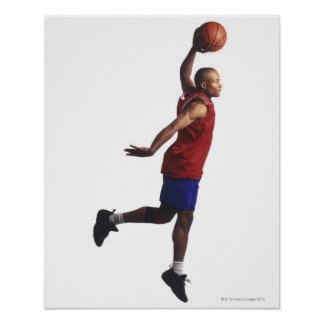 a young adult male basketball player flies poster