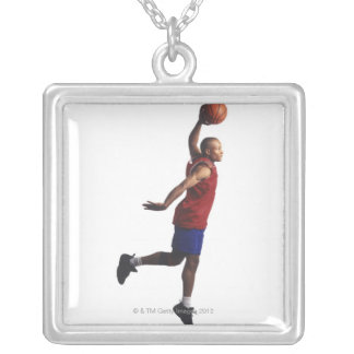 a young adult male basketball player flies silver plated necklace