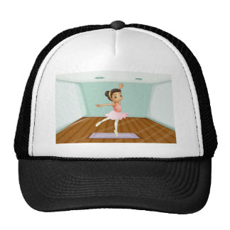 A young ballet dancer dancing above the rug trucker hat