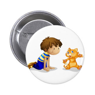 A young boy and his adorable kitten 2 inch round button