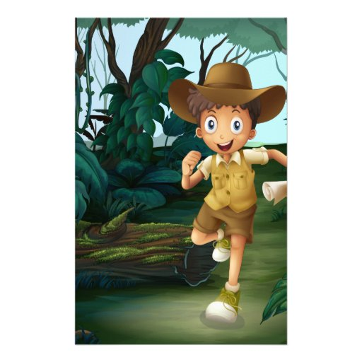 A young boy in the middle of the woods customized stationery
