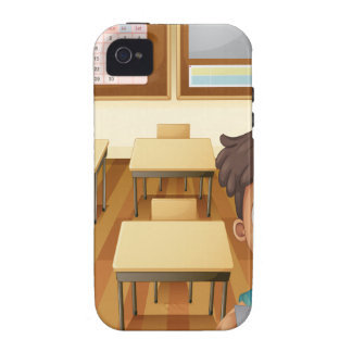 A young boy inside the classroom iPhone 4 covers