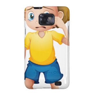 A young boy sobbing galaxy SII covers