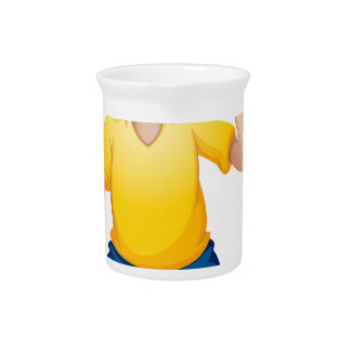 A young boy sobbing drink pitcher