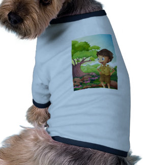 A young boyscout in the forest pet tee