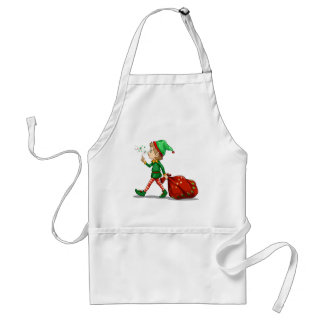 A young elf dragging a sack of gifts adult apron