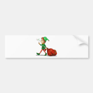 A young elf dragging a sack of gifts car bumper sticker