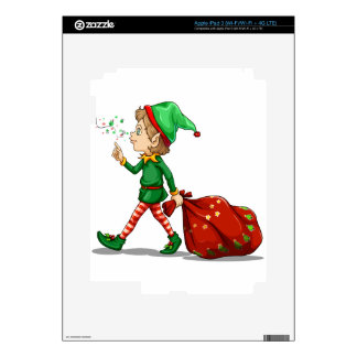 A young elf dragging a sack of gifts iPad 3 decals