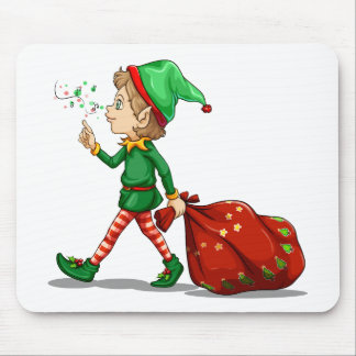 A young elf dragging a sack of gifts mouse pad