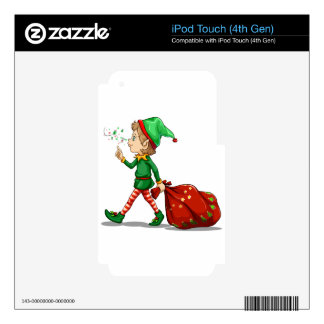 A young elf dragging a sack of gifts skin for iPod touch 4G