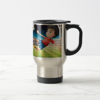 A young football player with a red uniform 15 oz stainless steel travel mug