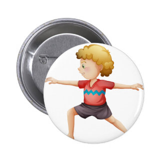 A young gentleman doing yoga 2 inch round button
