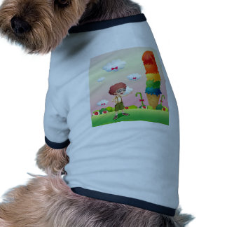 A young gentleman standing near the giant icecream doggie tshirt