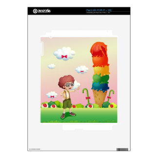 A young gentleman standing near the giant icecream skin for iPad 2