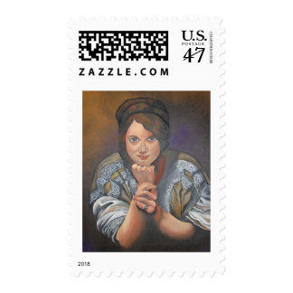 A Young German Woman In Traditional Dress Stamp