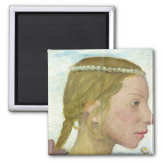 A Young Girl 2 Inch Square Magnet