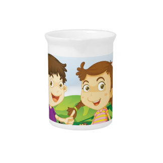 A young girl and a young boy at the wooden bridge drink pitcher