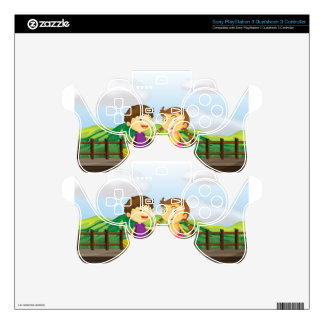 A young girl and a young boy at the wooden bridge PS3 controller skins