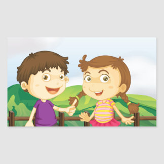 A young girl and a young boy at the wooden bridge rectangular sticker