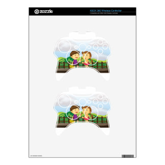 A young girl and a young boy at the wooden bridge xbox 360 controller decal