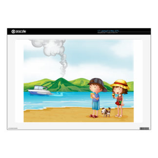 """A young girl and a young boy strolling at the beac 17"""" laptop decal"""