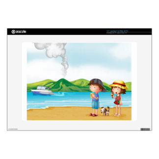 """A young girl and a young boy strolling at the beac skin for 15"""" laptop"""