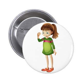 A young girl crying pinback button