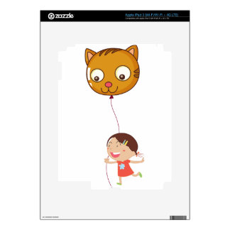 A young girl holding a cat balloon decal for iPad 3