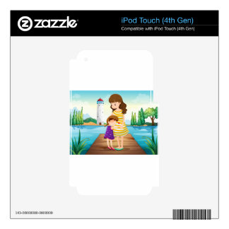A young girl hugging her mother at the bridge iPod touch 4G skins