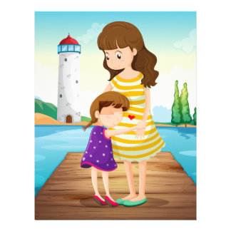 A young girl hugging her mother at the bridge letterhead
