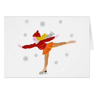 A Young Girl Ice Skating as Snowflakes Fall Card