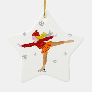 A Young Girl Ice Skating as Snowflakes Fall Ceramic Ornament