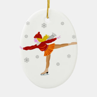A Young Girl Ice Skating as Snowflakes Fall Double-Sided Oval Ceramic Christmas Ornament