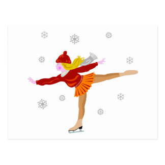 A Young Girl Ice Skating as Snowflakes Fall Postcard
