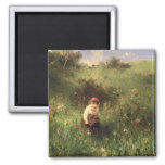 A Young Girl in a Field 2 Inch Square Magnet