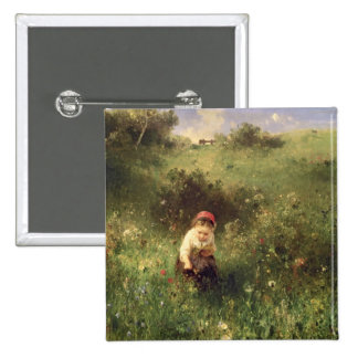 A Young Girl in a Field Button