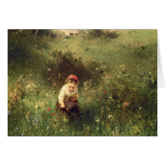 A Young Girl in a Field Greeting Card