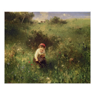 A Young Girl in a Field Poster