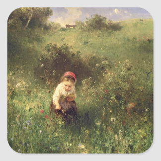 A Young Girl in a Field Stickers