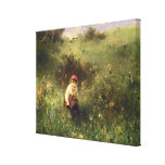 A Young Girl in a Field Stretched Canvas Print