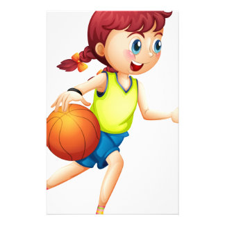 A young girl playing basketball stationery