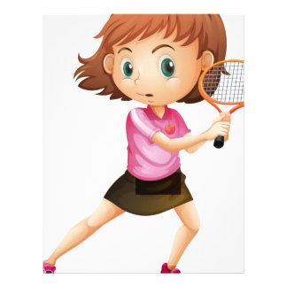 A young girl playing tennis customized letterhead
