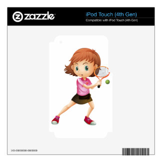 A young girl playing tennis iPod touch 4G decal