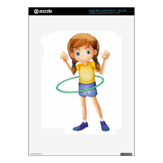 A young girl playing with the hulahoop iPad 3 decals